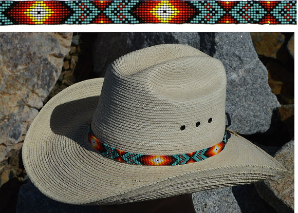 "5/8"" Beaded Hatbands With Suede Tie Ends  Product #: bhg-17-se"