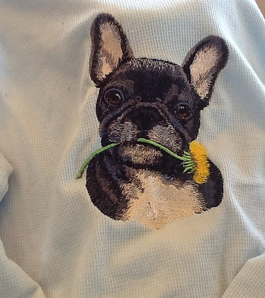 FRENCHIE  WITH FLOWER. This is just a sample of the embroiderywe do,