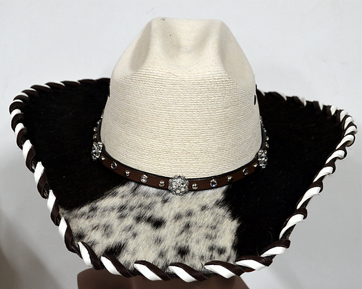 Western Cowboy Hat with Cowhide and Crystal Hat Band Size 7 1/4 #51