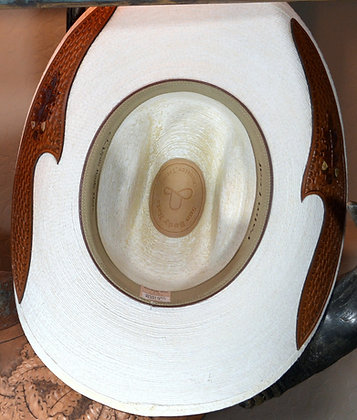 Western Hat Hand tooled, cut leather trim Sunbody Hat Size 7 1/2#11