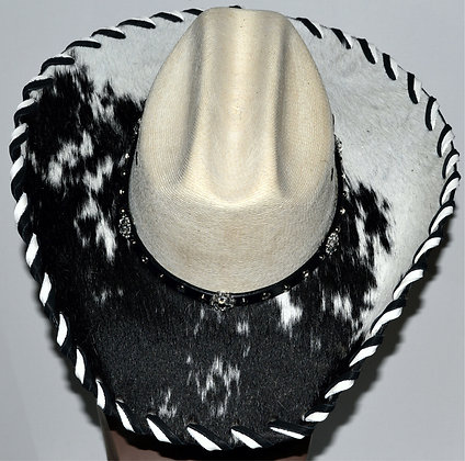 Western Cowboy Hat with Cowhide and Crystal Bling Hat Band Size 7 3/8 #35