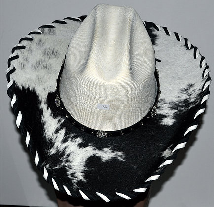 Western Cowboy Hat with Cowhide and Crystal Bling Hat Band Size 7 3/8