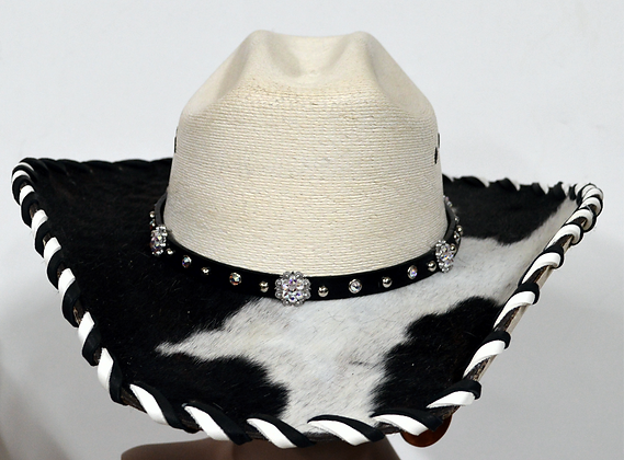 Wester Cowboy Hat with Cowhide and A/B Crystal Hat Band SIze 7 1/2 # 55