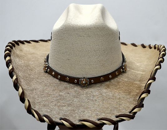 Western Cowboy Hat with Cowhide and Amber Bling Hat Band Size 7 #49