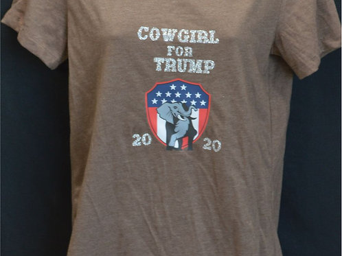 Cowgirls for Trump with american flag on plaque and a Elephant and the year 2020