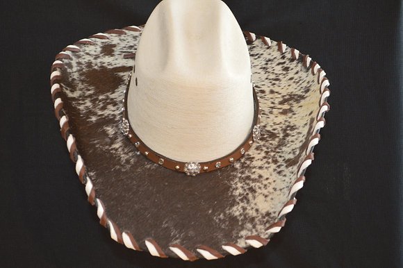 Western Cowboy Hat with Cowhide and Crystal Bling Hat Band #22  Size 6 7/8