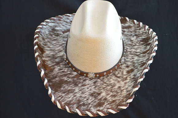 Western Cowboy Hat with Cowhide and Crystal Bling Hat Band #26  Size 6 7/8