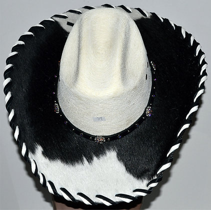 Western Cowboy Hat with Cowhide and Crystal Bling Hat