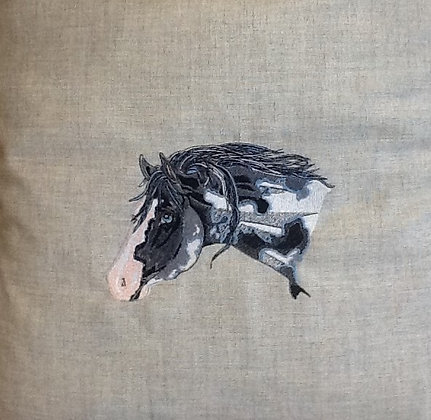 BLACK and WHITE HORSE HEAD. This is just a sample of the embroidery we do