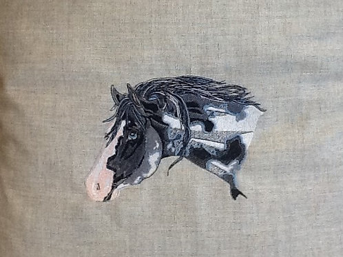 BLACK and WHITE HORSE HEAD. This is just a sample of the embroiderywe do