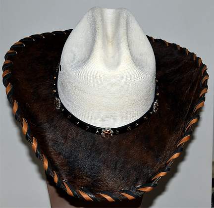 Western Cowboy Hat with Dark Brown Cowhide Amber Hat Band Size 7 1/2 #59