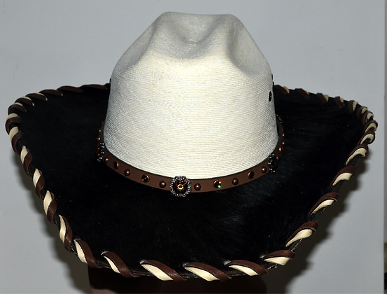 Western Cowboy Hat with Dark Brown Cowhide and Amber Hat Band Size 7 5/8 #61