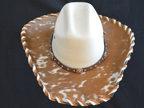 Western Cowboy Hat with Cowhide and Amber Bling Hat Band #2 Size 7 1/8