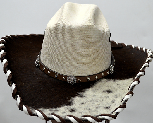 Western Cowboy Hat with Cowhide and Crystal Hat Band Size 6 /34 #47
