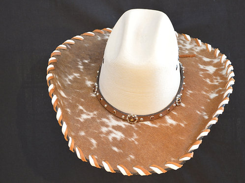 Western Cowboy Hat with Cowhide and Amber Bling Hat Band #16  size  6 3/4