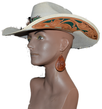 Western Hat Hand tooled, cut leather trim Sunbody Hat
