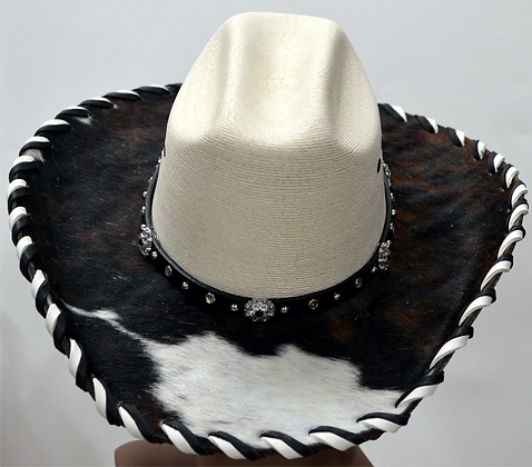 Western Cowboy Hat with Cowhide and Crystal Hat Band Size 7 #48