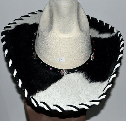 Western Cowboy Hat with Cowhide and Bling Hat Band