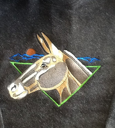 MULE WITH MOON. This is just a sample of the embroidery we do,