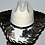 Thumbnail: Western Cowboy Hat with Cowhide and Amber Bling Hat Band Size 7 1/4 #50