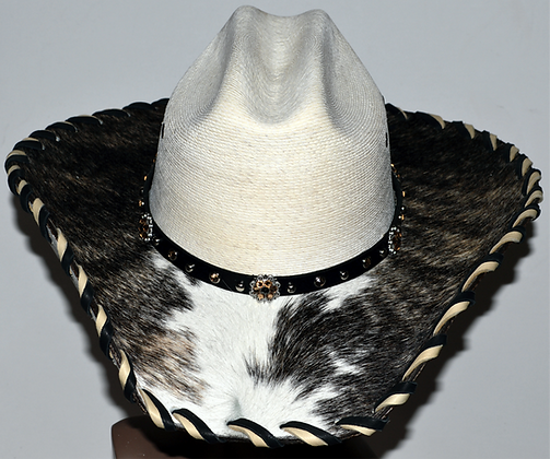 Western Cowboy Hat with Cowhide and Amber Bling Hat Band Size 7 1/4 #50