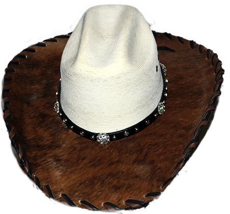 Wester Cowboy Hat with Dark Brown Hide with Crystal Bling Hat Band Size 7 1/8