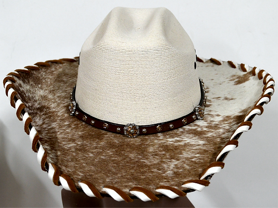 Western Cowboy Hat with Cowhide and Amber Hat Band Size 7 1/2 #54