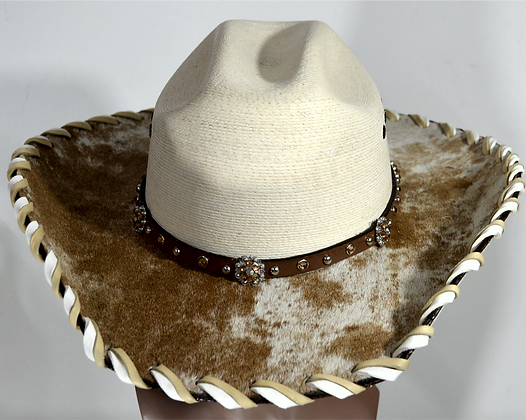 Western Cowboy Hat with Cowhide and Amber Hat Band Size 7 3/4 #60