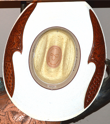 Western Hat Hand tooled, cut leather trim Sunbody Hat Size 6 7/8 #4