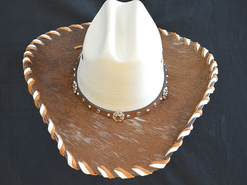 Western Cowboy Hat with Cowhide and Amber Bling Hat Band #20  Size 6 3/4