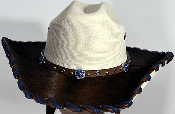 Wester Cowboy Hat with Dark Brown Cowhide and Blue Hat Band Size 7 1/2 #57