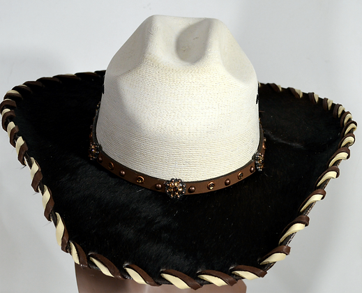 Wester Cowboy Hat with Black Cowhide and Amber Hat Band SIze 7 1/2 #58