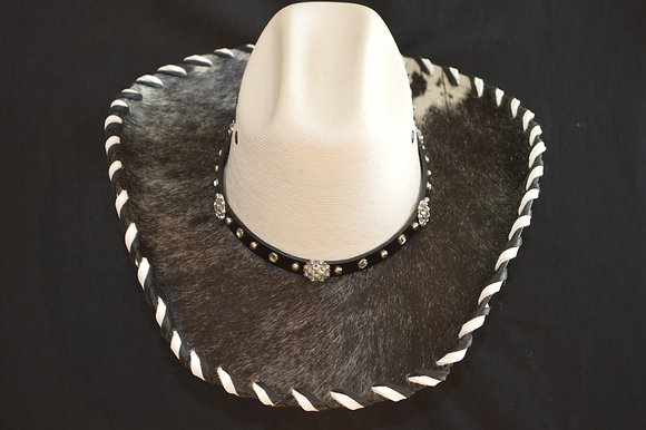 Western Cowboy Hat with Cowhide and Crystal Bling Hat Band #28  Size 6 3/4