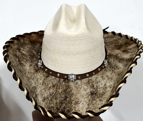 Wester Cowboy Hat with Cowhide and Crystal Hat Band Size 7 1/4 #52