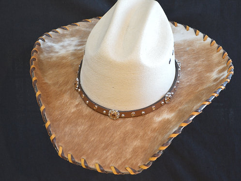 Western Cowboy Hat with Cowhide and Amber  Bling Hat Band #8  Size 7 3/4