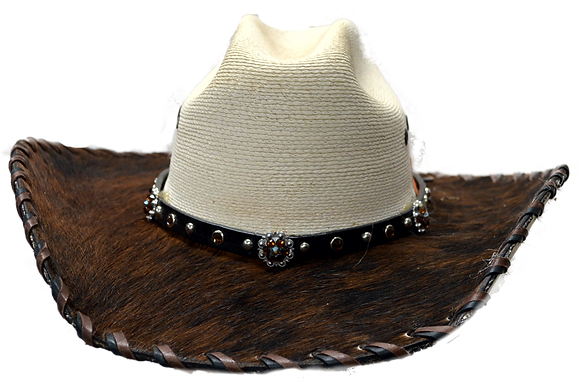 Wester Cowboy Hat with Dark Brown and Black Amber Bling Hat Band Size 6 3/4