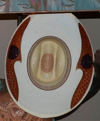 Western Hat Hand tooled, cut leather trim Sunbody Hat Size 6 3/4 #3