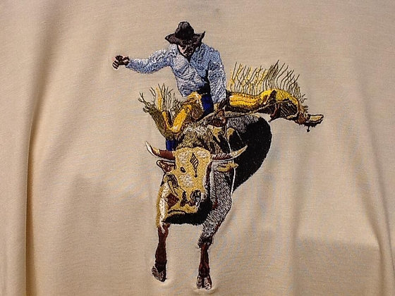BULL RIDER, This is just a sample of the embroiderywe do,