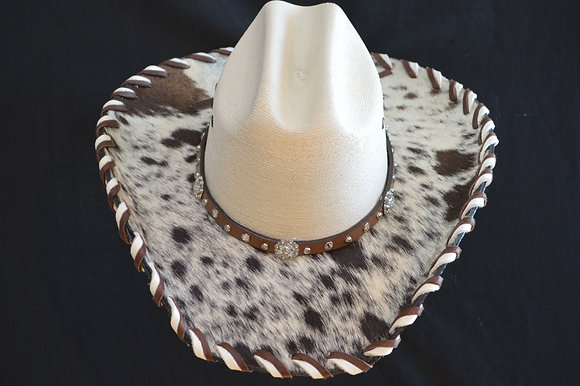 Western Cowboy Hat with Cowhide and Crystal Bling Hat Band #27  Size 6 7/8