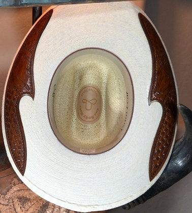 Western Hat Hand tooled, cut leather trim Sunbody Hat Size 6 7/8 #8