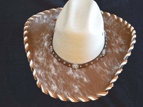 Western Hat with Cowhide and Crystal Clear Bling on Hat Band Size 7 1/8