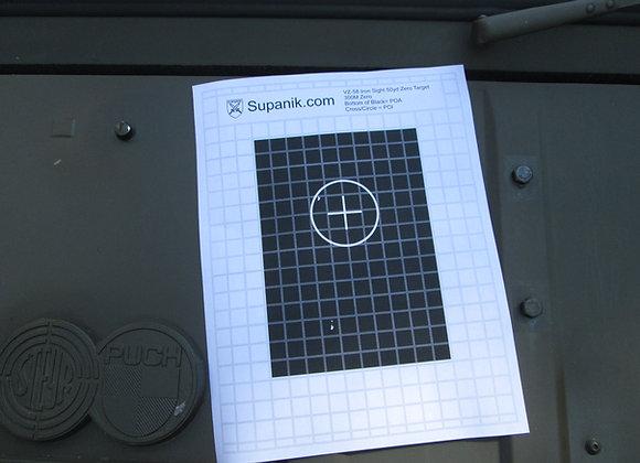 Zero target, iron sights