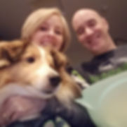 Greg and Melissa with Sheltie, Cinnamon.