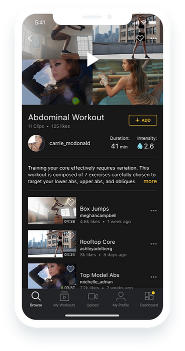 Design of the Workouts feature on a phone.