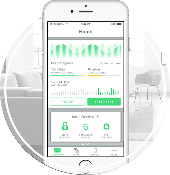 The SmartRG mobile app home screen developed as a part of the UX design project