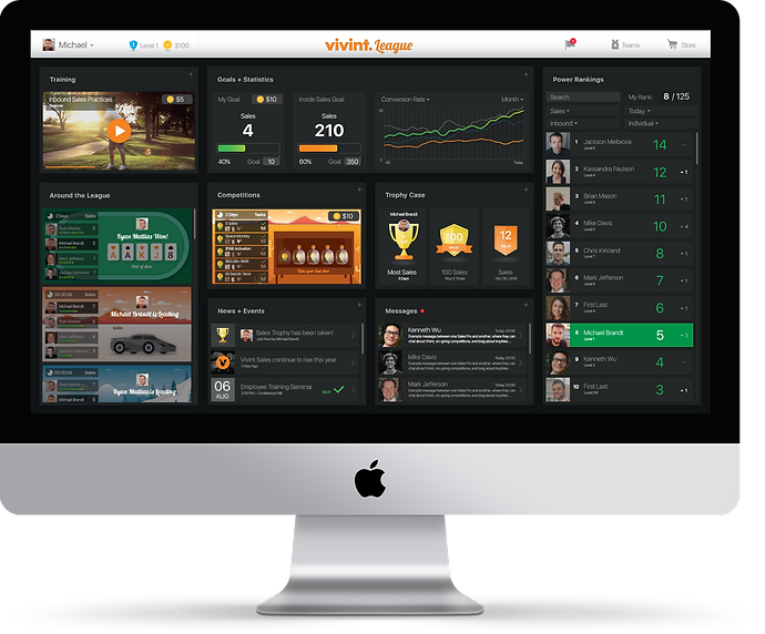 Vivint League dashboard mockup