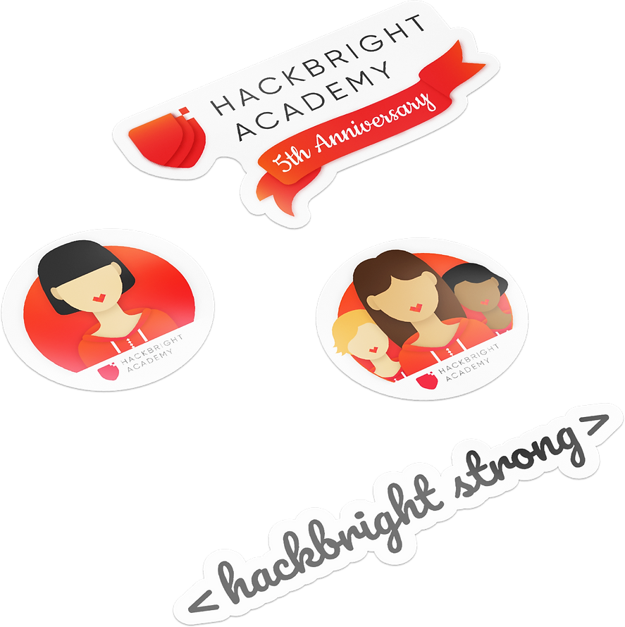 Graphic design of stickers created for Hackbright Academy as part of the UI UX web design project