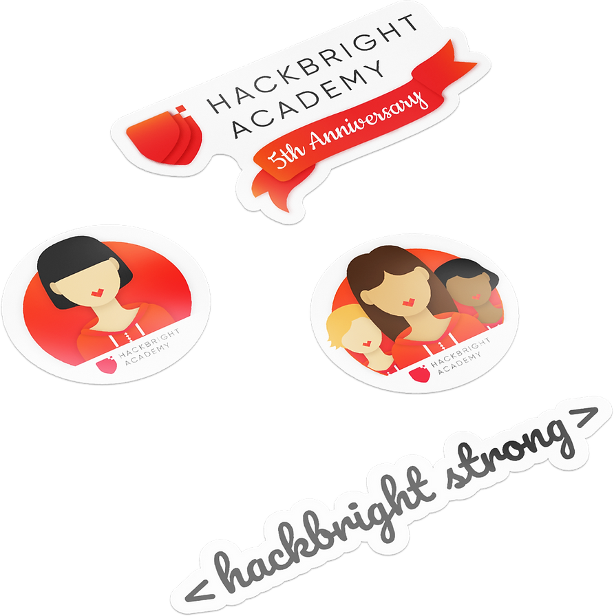 Graphic design of stickers created for Hackbright Academy