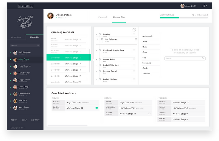 Continuum Web App Trainer Dashboard designed by Neuron UX experts