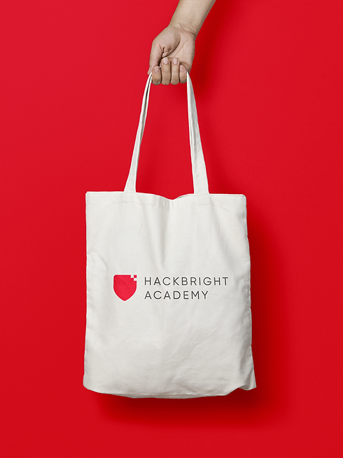Hackbright Academy branding on a tote bag